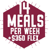 14 Meals per week with $350 Flex