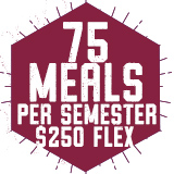75 Meals per semester with $250 Flex